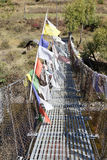Tibetan bridge in Chhume Valley, Bhutan Royalty Free Stock Images