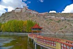 Tibetan bridge and monastery Stock Photography