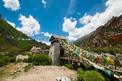 Tibetan bridge Stock Photo