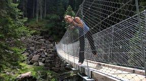 Tibetan bridge in val di fiemme at la Scofa Stock Images