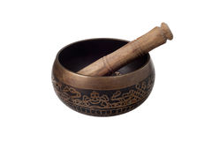 Tibetan Bronze Singing Bowl. Tibetan Singing Bowl Isolated On White Background Stock Photos