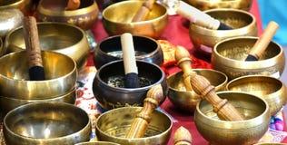 Tibetan Bronze Singing Bowls Royalty Free Stock Image