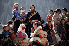 Tibetan Buddhism. Gansu, China Xicang Temple, watch the ritual activities of the Tibetan people waiting, everyone's face filled with holiday joy Stock Image