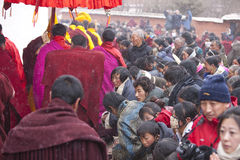 Tibetan Buddhism. February 17, 2011, Labrang Monastery, Gansu, China, came to pay homage to Tibetans and monks, to participate in ritual activities in the snow Royalty Free Stock Images