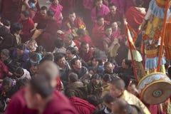 Tibetan Buddhism. Langmusi ritual activities held, many devout Tibetans and monks Stock Photo