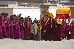 Tibetan Buddhism. Labrang Monastery in Gansu Tibetan lamas and respectfully greet the Buddha. Living Buddha, is the development of Tibetan Buddhism to a certain Royalty Free Stock Image