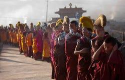 Tibetan Buddhism. Tibetan traditional festivals each year, to be held in Tibetan Buddhism, the Buddha grand sun, jump method dance, Tibetan opera performances Royalty Free Stock Photography