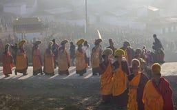 Tibetan Buddhism. Tibetan traditional festivals each year, to be held in Tibetan Buddhism, the Buddha grand sun, jump method dance, Tibetan opera performances Stock Photo