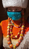 Tibetan Buddhism. Tibetan girls especially like to wear red coral, jade, agate, turquoise necklace made of mixed clothing, and some accompanied by a Stock Photo