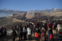 Tibetan Buddhism. Tibetan traditional festivals each year, to be held in Tibetan Buddhism, the Buddha grand sun, jump method dance, Tibetan opera performances Royalty Free Stock Photo