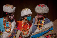 Tibetan Buddhism. Tibetan girls especially like to wear red coral, jade, agate, turquoise necklace made of mixed clothing, and some accompanied by a Royalty Free Stock Image