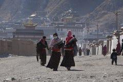 Tibetan Buddhism. Tibetan traditional festivals each year, to be held in Tibetan Buddhism, the Buddha grand sun, jump method dance, Tibetan opera performances Royalty Free Stock Photos