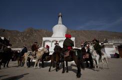 Tibetan Buddhism. Tibetan traditional festivals each year, to be held in Tibetan Buddhism, the Buddha grand sun, jump method dance, Tibetan opera performances Stock Image