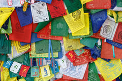 Tibetan Buddhism prayer flags (lungta) with Om Mani Padme Hum Royalty Free Stock Photo