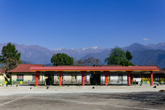 Tibetan Buddhism Temple with dogs sleep on the floor and mountain view in Sikkim, India.  royalty free stock images
