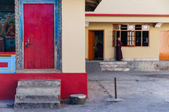 Tibetan Buddhism Temple with monk in Sikkim, India.  Royalty Free Stock Images