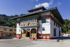 Tibetan Buddhism Temple with shadow and sunlight in Sikkim, India stock image