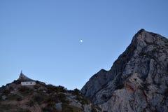 Tibetan Buddhist And The Mountains ,Moon Stock Photo