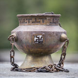 Tibetan Buddhist ceremonies lamp for religious ritual, Nepal. Close up Stock Image