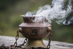 Tibetan Buddhist ceremonies lamp for religious ritual, Nepal. Close up Royalty Free Stock Photography