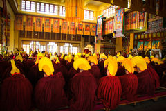 Tibetan Buddhist ceremony, Gyuto monastery, Dharamshala, India. Tibetan Buddhist ceremony, a yearly Puja inside the temple of Gyuto monastery, Dharamshala, India Royalty Free Stock Image