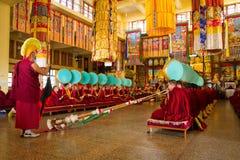 Tibetan Buddhist ceremony, Gyuto monastery, Dharamshala, India Royalty Free Stock Images