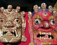 Tibetan Buddhist Deity Masks Royalty Free Stock Image