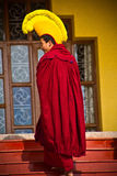 Tibetan Buddhist Lama, Gyuto monastery, Dharamshala, India. Tibetan Buddhist monks enters a  ceremony, a yearly Puja inside the temple of Gyuto monastery Royalty Free Stock Photos
