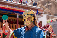 Tibetan Buddhist lamas in the mystical masks perform a ritual Tsam dance . Hemis monastery, Ladakh, India Stock Photos