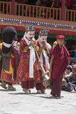 Tibetan Buddhist lamas in the mystical masks perform a ritual Tsam dance . Hemis monastery, Ladakh, India Stock Photography