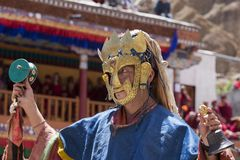 Tibetan Buddhist lamas in the mystical masks perform a ritual Tsam dance . Hemis monastery, Ladakh, India Royalty Free Stock Photography