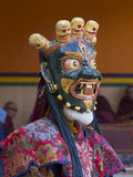 Tibetan Buddhist lamas perform a ritual dance in the monastery of Lamayuru, Ladakh, India Royalty Free Stock Photography