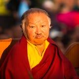 Tibetan Buddhist monk near stupa Boudhanath during festive Puja Royalty Free Stock Images