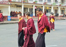 Tibetan Buddhist monks in Namdroling Monastery. Royalty Free Stock Photos
