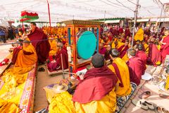 Tibetan Buddhist monks near stupa Boudhanath during festive Puja Royalty Free Stock Images