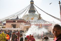 Tibetan Buddhist monks near stupa Boudhanath during festive Puja Royalty Free Stock Image