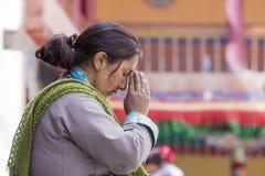 Tibetan Buddhist old women in Hemis monastery. Ladakh, North India Stock Images