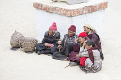 Tibetan Buddhist old women in the monastery of Lamayuru, Ladakh, India Royalty Free Stock Images