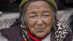 Tibetan Buddhist old women in the monastery of Lamayuru, Ladakh, India Stock Photos