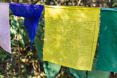 Tibetan Buddhist Prayer Flag include red, green, yellow, blue and white colors in Kabi Lungchok. Sikkim, India Royalty Free Stock Photography