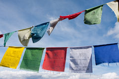 Tibetan buddhist prayer flags Stock Photos