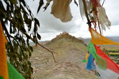 Tibetan Buddhist prayer flags in Gyantse, Tibet Stock Photo