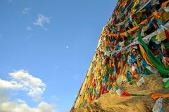 Tibetan Buddhist prayer flags in Lhasa Royalty Free Stock Photography
