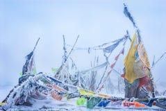 Tibetan Buddhist prayer flags on snow mountain pass Stock Image