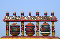 Tibetan Buddhist prayer wheel spinning Royalty Free Stock Photography