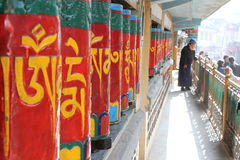 Tibetan Buddhist Prayer Wheels Stock Photo