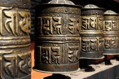 Tibetan Buddhist prayer wheels Golden Temple Stock Images