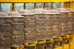 Tibetan Buddhist prayer wheels. Religion. Royalty Free Stock Photos