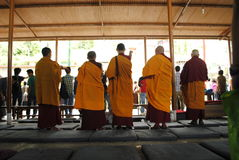 Tibetan Buddhist Ritual. A scene of Tibetan Buddhist monks performing a ritual called Sangsol to subdue bad lucks and misfortunes Stock Photo