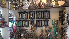 Tibetan buddhist souvenirs and religious objects in Dharamsala shop, India Stock Photography